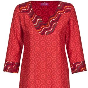 Traditionell Indische Baumwoll Kurti Tunika rot  7/8 Arm