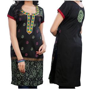 Traditionell Indische Baumwoll Kurti Tunika kurzarm schwarz