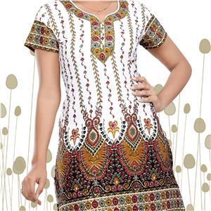 Original Indische Kurti Tunika weiß farbig bedruckt
