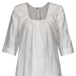 Kurti A-Linie Tunika Bluse reine Baumwolle weiß handbestickt