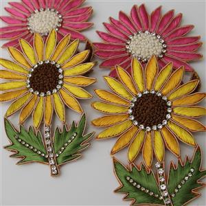 Applikation Aufnäher Sonnenblume mit gefassten Strassteinen gelb und rosa 11 cm
