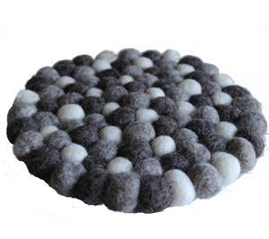 Fairtrade Filz Untersetzer Topf Untersetzer kiesel natur hell 22 cm handgefertigt aus reiner Wolle, hitzebeständig
