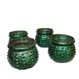 Teelichthalter Vasen indisches Kunsthandwerk grün gold matt 4er Set