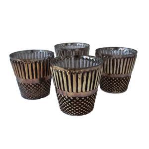 4er Set Teelichter Vasen Deko Gläser Übertöpfe antik braun gold