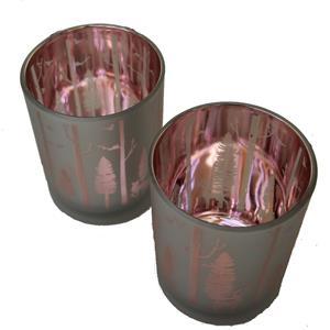 6er Set Teelichter Windlichter Wald silber rosé