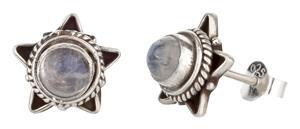 Ohrstecker 925er Silber Handarbeit mit Mondstein