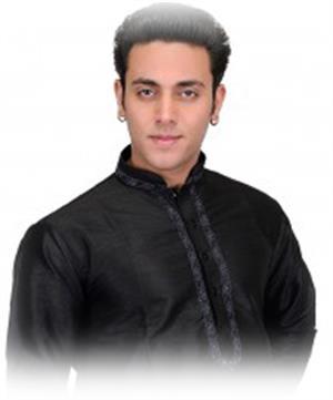 Kurta Pajama schwarz festlich mit Stickerei