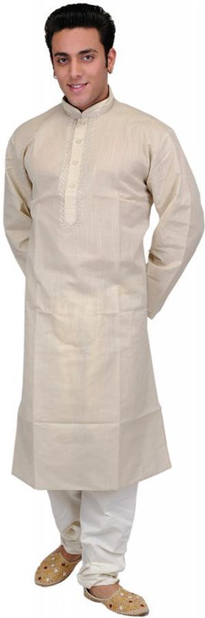 Kurta Pajama beige crème festlich mit Stickerei
